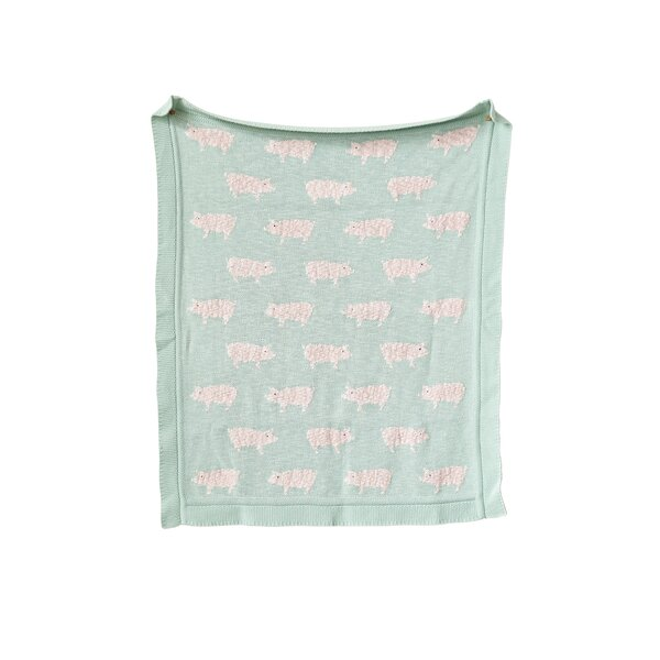 Sharyl Knit Pigs 100% Cotton Blanket by Harriet Bee